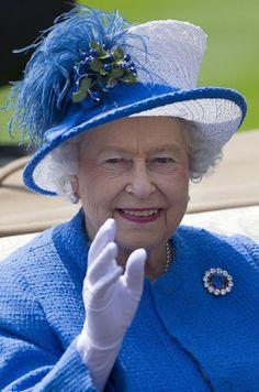 Queen Elizabeth, June 21, 2013 at Ascot in a fabulous Angela Kelly designed hat.