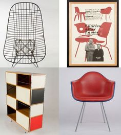 """Clockwise from top left: The DKR wire chair by Charles and Ray Eames; a poster for """"The Work of Charles and Ray Eames/A Legacy of Invention,"""" a 2005 exhibition at the Meguro Museum of Art in Tokyo; a 1983 molded plastic chair; the ESU 440-C storage unit, 1953. Photography by Grant Taylor."""