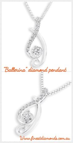 Ballerina diamond pendant in 18K White gold with diamonds. Elegant, graceful and sophisticated. Be inspired by the romance of the ballet.See more collection #finestdiamonds www.finestdiamonds.com.au