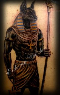 egyptian god tattoos all black | Anubis Egyptian God Tattoo