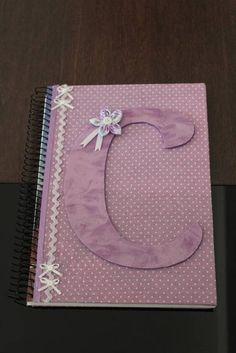 Caderno decorado tecido