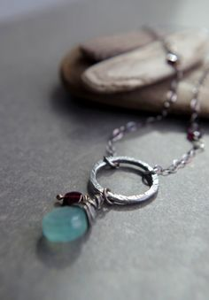 """Boho Fine Silver necklace aqua blue chalcedony and dark red garnet 24"""" length - Organic circle, fine silver and sterling silver, gemstones"""
