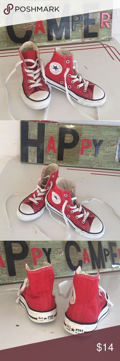 """Converse All Star High Tops A super cute pair of little kid's Converse High Tops,  size 11 1/2 (measured sole heel to toe,    8 1/2"""" long, 3 1/8"""" wide) in bright Red ❤ In VERY good previously loved condition w/only condition issue, one shoe lace plastic end cap is off on left shoe lace.  * From a smoke free home Converse Shoes Sneakers"""