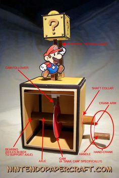 DIY Paper Automatan Mario Bros hand crank downloadable #SuperMario #Wedding #nerdy