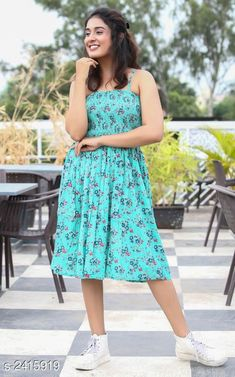 Dresses Women's Printed Blue Cotton Dress Fabric: Cotton Sleeves: Sleeves Are Not Included Size: XS - 34 in S - 36 in M- 38 in L- 40 in XL- 42 in  XXL - 44 in Length: Up To 38 in Type: Stitched Description: It Has 1 Piece Of Women's Dress Work: Printed Country of Origin: India Sizes Available: XS, S, M, L, XL, XXL, XXXL   Catalog Rating: ★4.2 (463)  Catalog Name: Trendy Designer Women's Dresses Vol 5 CatalogID_323597 C79-SC1025 Code: 415-2415919-