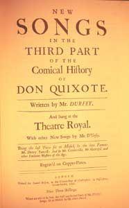 Henry PURCELL. The Comical history of Don Quixote. Página inicial de la tercera parte. 1.ª edición (Londres, 1694).