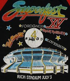Vintage 1982 Buffalo Superfest concert shirt.  Iron Maiden, Loverboy, Ted Nugent, and Foreigner.