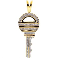 Mens Diamond Rounded Key Pendant 10K Yellow Gold 0.55 ct