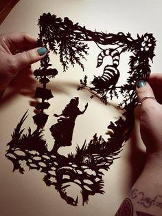 Image of Papercut DIY Design Template (2 sheets) - 'Cheshire Cat' Wonderland Inspired
