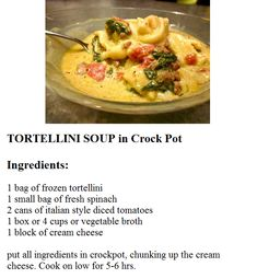 Tortellini Soup in Crock Pot - This recipe is delicous! Perfect for a chilly afternoon!