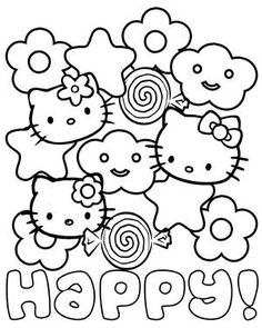 A fun adorable and very happy Hello Kitty coloring page. This Hello Kitty coloring page is a collage of stars with rounded points, cartoon flowers, clouds with beaming smiles, delicious Hello Kitty Colouring Pages, Cute Coloring Pages, Coloring Pages To Print, Coloring Books, Coloring Sheets, Free Adult Coloring, Coloring Pages For Kids, Sanrio, Hello Kitty Crafts