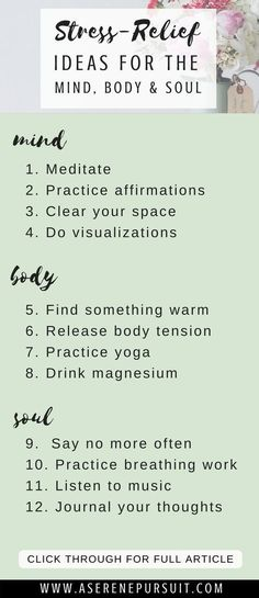 12 Mind Body Soul Activities to Relieve Stress Fast Help You Relax Is stress taking over your life Click through for 12 mind body and soul ideas to help you reduce str. Coping With Stress, Dealing With Stress, How To Relieve Stress, How To Manage Stress, Stress Less, How To Destress, How To Reduce Anger, How To Lower Stress, Coping Mechanisms For Stress