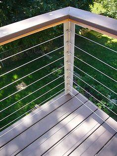 Interesting criss-cross cable termination. modern deck ideas railing - Google Search