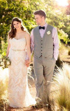 D2106+ Sheath Plus Size Wedding Gown by Essense of Australia