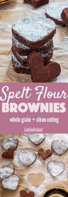 Spelt Flour Brownies are a perfect healthier treat for Valentine's Day or any day.  AD  healthy | dessert | clean eating | whole grain