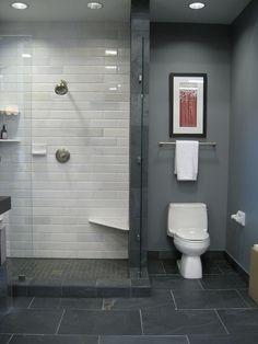 Grey paint, white metro tiles, grey floor tiles                                                                                                                                                                                 Mehr