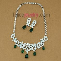 Striking green color zirconia beads decorated necklace and earrings set