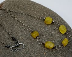 Olive jade necklace with sterling silver. £23.00