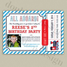 Train Ticket or Boarding Pass Birthday Party Invitation by double u design on Etsy