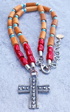 Magdalena: Mexican-Inspired Coral Turquoise Wood & Silver Cross Pendant Necklace Beaded Cross, Southwest Jewelry, Red Jewelry, Coral Turquoise, Artisan Jewelry, Cross Pendant, Stones And Crystals, Jewelry Collection, Mexican
