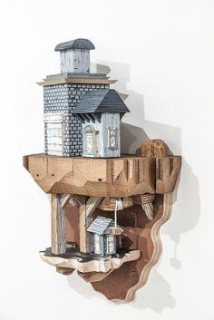 O artista Luke O'Sullivan combina ilustrações e esculturas para criar cidades extraordinárias