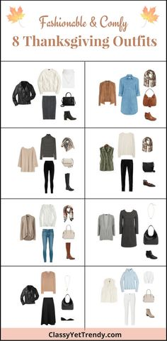 8 Fashionable & Comfy Thanksgiving Outfits - outfit ideas featuring leather jacket, cable sweater, ponte skirt, chambray dress, suede jacket, striped turtleneck, leggings, tunic sweater, utility vest, black jeans, white tee, tan cardigan, skinny jeans, gray cardigan, striped dress, midi skirt, camel sweater, turtleneck sweater, white jeans, faux fur vest, ankle boots, plaid scarf, hobo bag, lace up flats, handbag and crossbody.