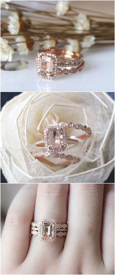 3PCS ring set Emerald Cut 14K Rose Gold Morganite Ring Set Morganite Engagement Ring Set Wedding Ring Set / http://www.deerpearlflowers.com/rose-gold-engagement-rings/