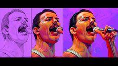 "Portrait in tribute to ""Freddie Mercury"" ""Queen"" by Manuel Berrios C. wa..."