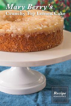An American recipe adaptation of Mary Berry's Crunchy Top Lemon Cake Mary Berry, Round Cake Pans, American Food, Baking Pans, Vanilla Cake, Cake Recipes, Berries, Lemon, Vegetarian