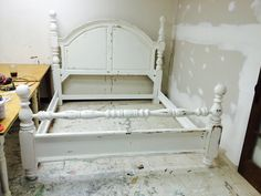 "I finally found a complete King sized bed! It comes with the headboard, footboard and rails and it is HUGE! I painted it a distressed white, what do you think?  The dimensions: King Bed top of headboard is 68"". SOLD!! for $500"