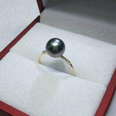 YKIN Women'S Wedding Gift Pearl Ring 18K Gold Pearl Ring 8-9MM Tahitian Black Sea Water Pearl Genuine Special