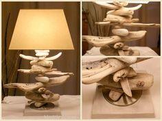 Lampe en bois flotté .