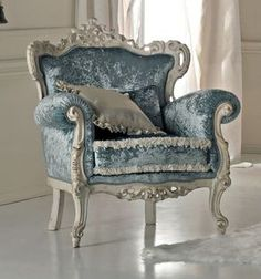Paris collection Rococo armchair in baby blue crushed velvet on a white distressed carved frame from solid walnut. Rococo Armchair, Dining Room Furniture, Furniture, Home Decor, Vintage Chairs, Beautiful Chair, Shabby Chic Furniture, Vintage Furniture, Beautiful Furniture
