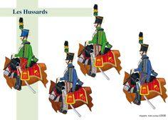 L'armée autrichienne - hussards  de gauche à droite 4ème Hussards de Hesse-hombourg 6ème Hussards de Blankeinstein 8ème Hussards de Kienmayer 12ème Hussards du Palatinat.