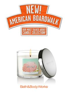 NEW Sun Tan 4 oz. Candle – like the feeling of the bright sun and warm sand with orange flower, yuzu and coconut husk <3   #AmericanBoardwalk