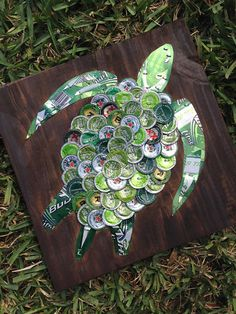 Beer/Bottle Cap Sea Turtle on Painted Wood 12 x 12 by KaysCapArt, - Bud Light, Bud Lime, Heineken, Woodchuck, Red Apple Ale, Michelob Ultra - $75 - Funky beer art for bar area