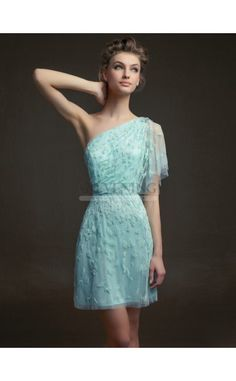 Stunning Sly Blue One Shoulder A Line Cocktail Dress(JT4E-0850)