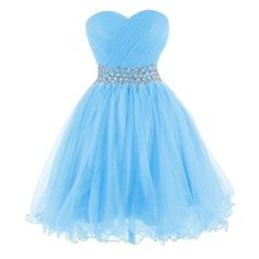 Tidetell 2015 Strapless Homecoming Beaded Short Prom Dress Ball Gown ❤ liked on Polyvore featuring dresses, gowns, blue gown, beaded gown, short homecoming dresses, short evening dresses and blue dress