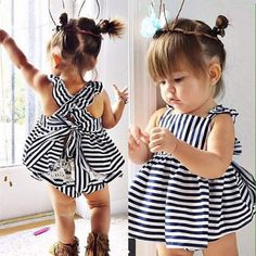 The perfect summer striped set!! Black and white stripe 2 piece set includes top and bloomers Top has ruffle details and ties in back Bloomers have ruffles and lace details on butt area Cotton blend m