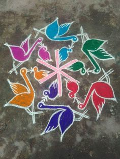Colorful Rangoli Designs, Rangoli Kolam Designs, Beautiful Rangoli Designs, Rangoli With Dots, Simple Rangoli, Indian Rangoli, Floor Design, Christmas Ornaments, Holiday Decor