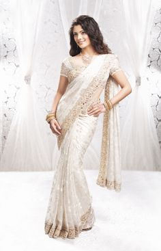 White Saree - Embroidery