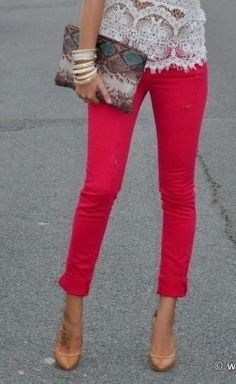 bold skinnies, neutral heels, and a lace top