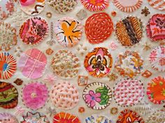 Page no longer exists - image for inspiration only. Lovely embroidery over applique - very creative. handmade by amalia: Work in Progress Embroidery Applique, Cross Stitch Embroidery, Embroidery Patterns, Sewing Crafts, Sewing Projects, Textiles, Fabric Art, Fabric Glue, Fabric Scraps