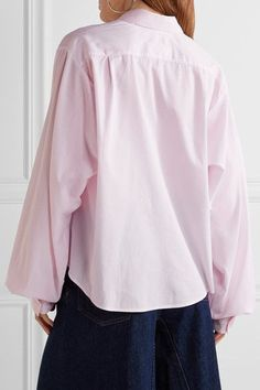 Tonal-pink cotton-poplin Button fastenings through front 100% cotton Dry clean Made in Italy