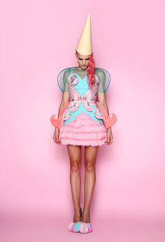 Green tulle top, printed pink & mint corset, pom pom skirt & shoes ANA LJUBINKOVIC f/w 2012/13 #ana_ljubinkovic