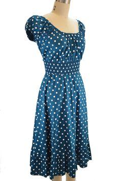 peasant top polka dot sun dress - dark teal & white