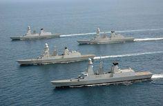 Flotilla of French Marine nationale FREMM frigates.
