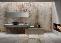 COLLEZIONE FERROCEMENTO   SAIME   CERAMICHE SASSUOLO Master Bathroom, Gold Bathroom, Bath Time, Showroom, Tiles, Furniture Design, Relax, Flooring, Interior Design
