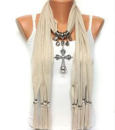 Cream color jewelry scarf with beautiful cross by BienBijou Scarf Necklace, Scarf Jewelry, Fabric Jewelry, Diy Clothes, Clothes For Women, Diy Scarf, Cross Jewelry, Scarf Hairstyles, Cut Shirts