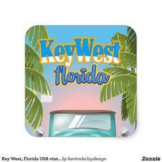 Key West, Florida USA vintage travel poster Square Sticker